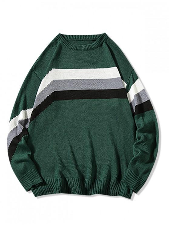 Colorblockストライプパネルカジュアルセーター - 緑 4XL