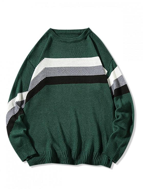 ladies Colorblock Stripes Panel Casual Sweater - GREEN 2XL