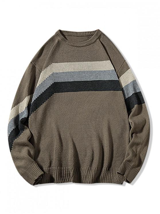 outfits Colorblock Stripes Panel Casual Sweater - COFFEE 2XL