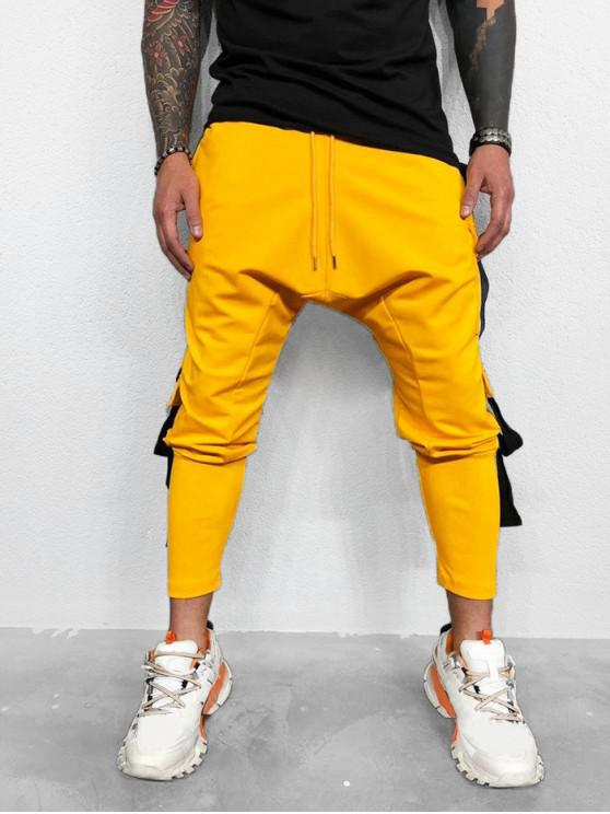chic Side Flap Pocket Ribbon Spliced Sport Pencil Pants - YELLOW 2XL