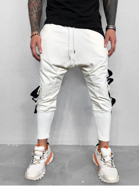Спортивные Брюки-карандаш Боковой карман С лентой - Белый M