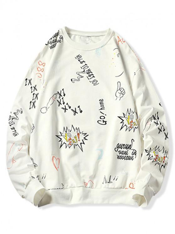 outfit Letter Graffiti Graphic Print Crew Neck Sweatshirt - WHITE 2XL