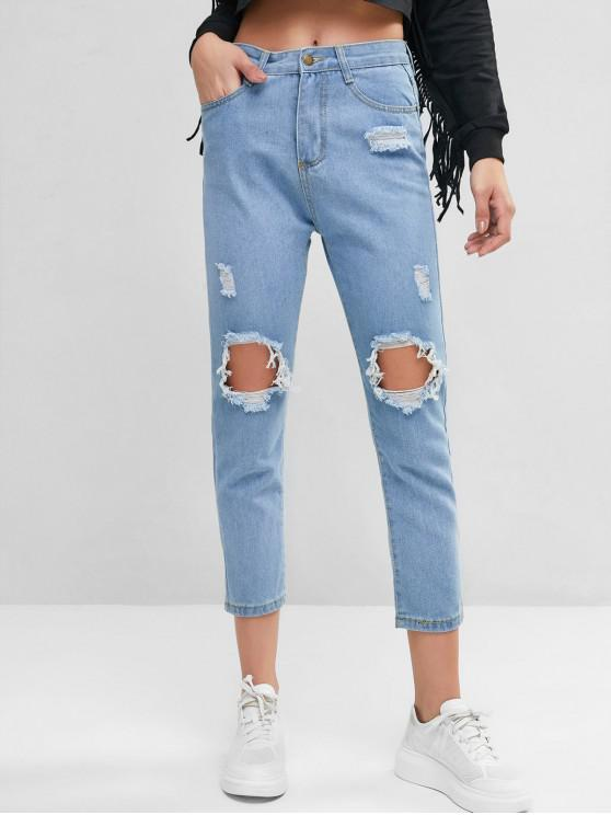 women's Mid Rise Destroyed Ninth Straight Jeans - DENIM BLUE XL
