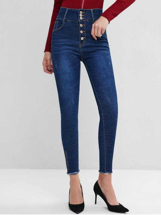 trendy High Waisted Frayed Hem Embroidered Skinny Jeans - DEEP BLUE M