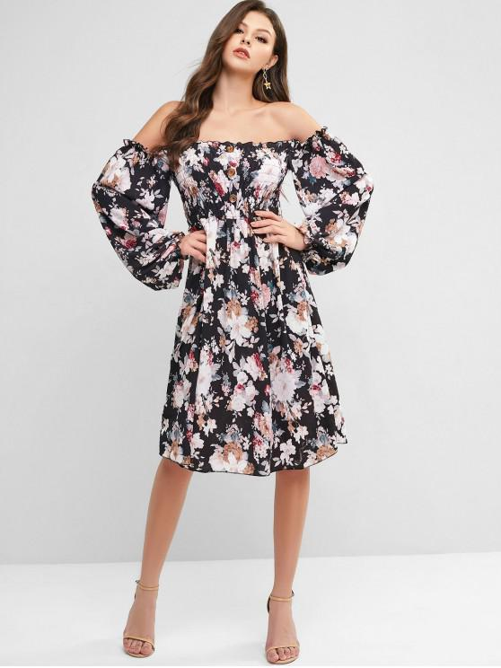 ladies Smocked Buttoned Floral Long Sleeve Dress - MULTI-A L
