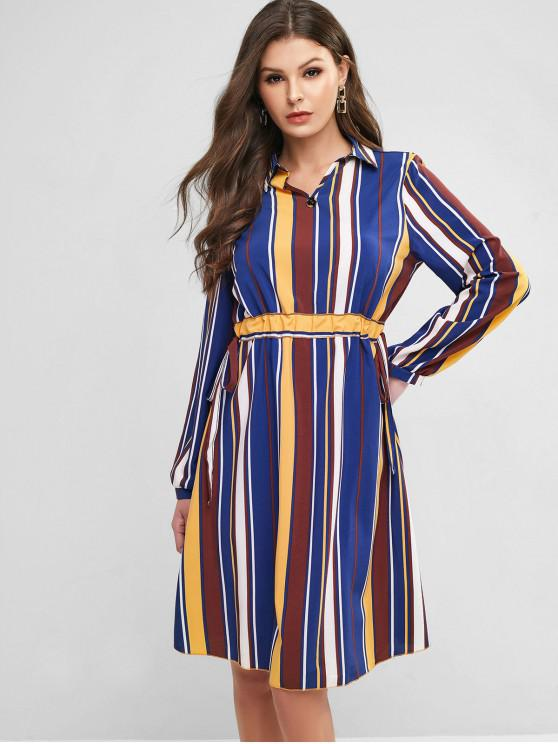 trendy Drawstring Waist Long Sleeve Stripes Work Dress - MULTI-A L