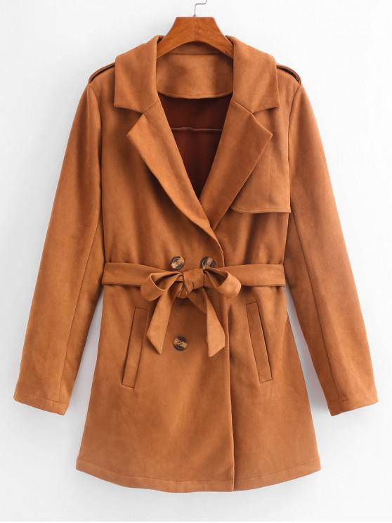affordable ZAFUL Suede Belted Coat - WOOD S