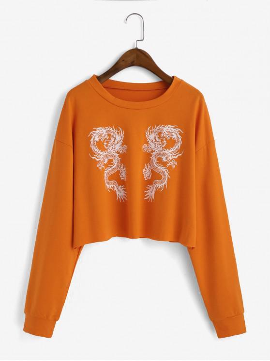 Sweat-shirt Dragon Imprimé Goutte Epaule à Coupe Brute - Orange M