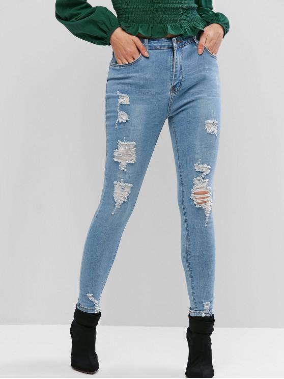 hot Distressed  Skinny Jeans - JEANS BLUE L