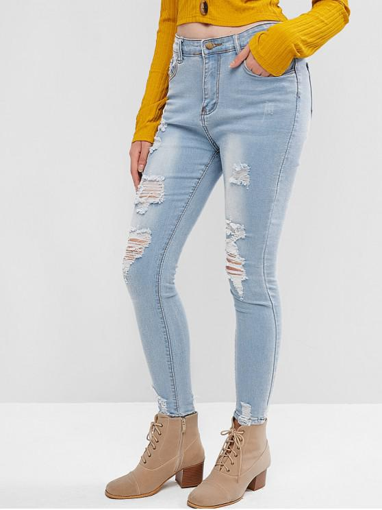 trendy Distressed Skinny Jeans - JEANS BLUE S