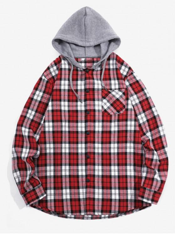 fashion Checked Print Pockets Button Up Hooded Shirt - RED 2XL