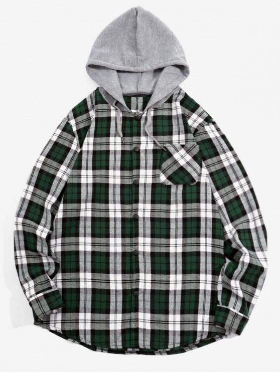 womens Checked Print Pockets Button Up Hooded Shirt - GREEN XL