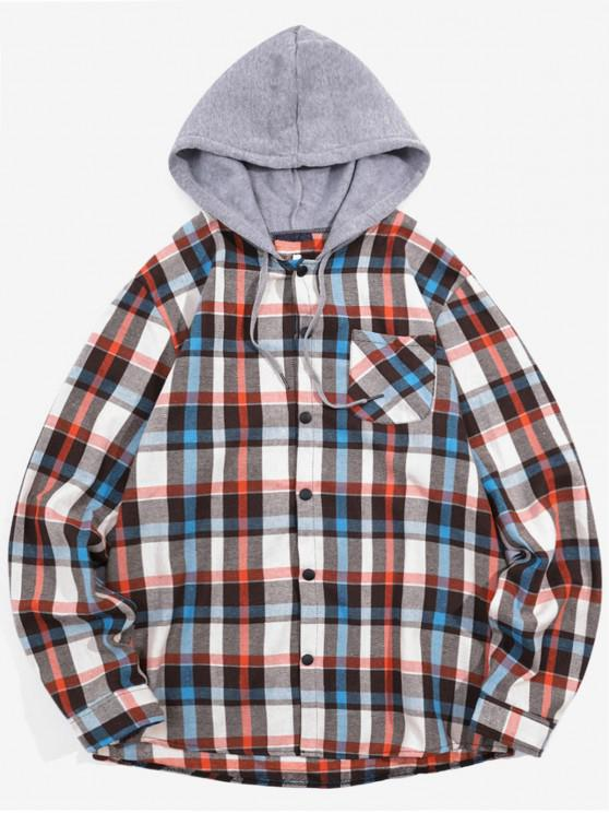 best Checked Print Pockets Button Up Hooded Shirt - BLANCHED ALMOND 2XL