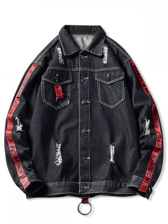 Рваная Джинсовая Куртка Контрастные цветы Принт полосы и буквы Карман - Чёрный XS