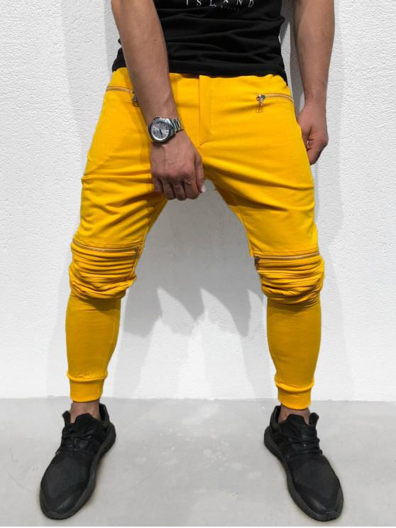 buy Zipper Pleated Long Solid Sport Jogger Pants - YELLOW XS