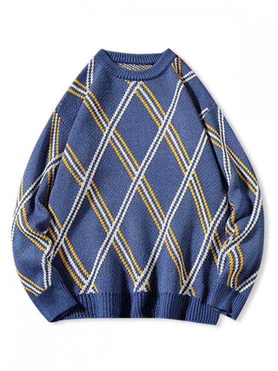 sale Diamond Geometric Graphic Rib-kint Sweater - BLUE L