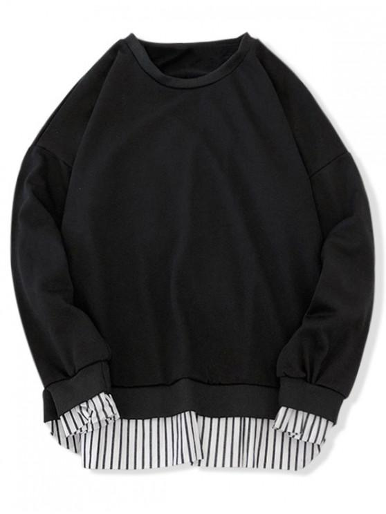 women Stripes Splicing Side Split Faux Twinset Sweatshirt - BLACK L