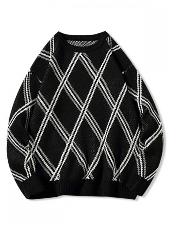 outfit Diamond Geometric Graphic Rib-kint Sweater - BLACK 3XL