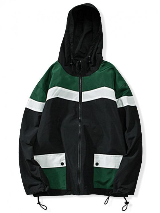Цветной блок Карман Со шнуровкой С капюшоном Куртка - Зеленый XL