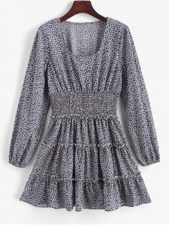 women ZAFUL Ditsy Floral Smock Waist Long Sleeve Dress - BLUE GRAY S