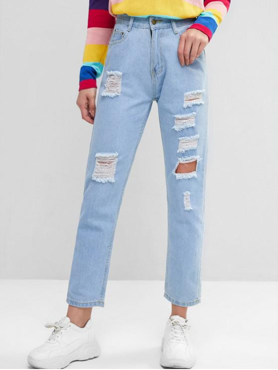 chic Mid Rise Destroyed Straight Jeans - DENIM BLUE L