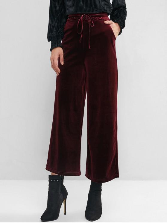 women's Velvet Pocket Drawstring Wide Leg Pants - RED WINE S