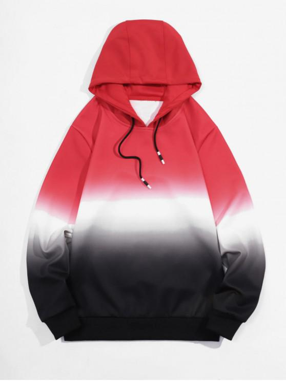 lady Ombre Print Drawstring Pullover Hoodie - RED M