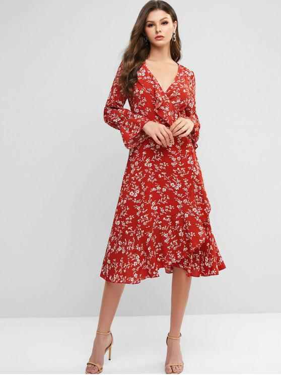 sale Poet Sleeve Ditsy Floral Ruffles Wrap Dress - VALENTINE RED XL