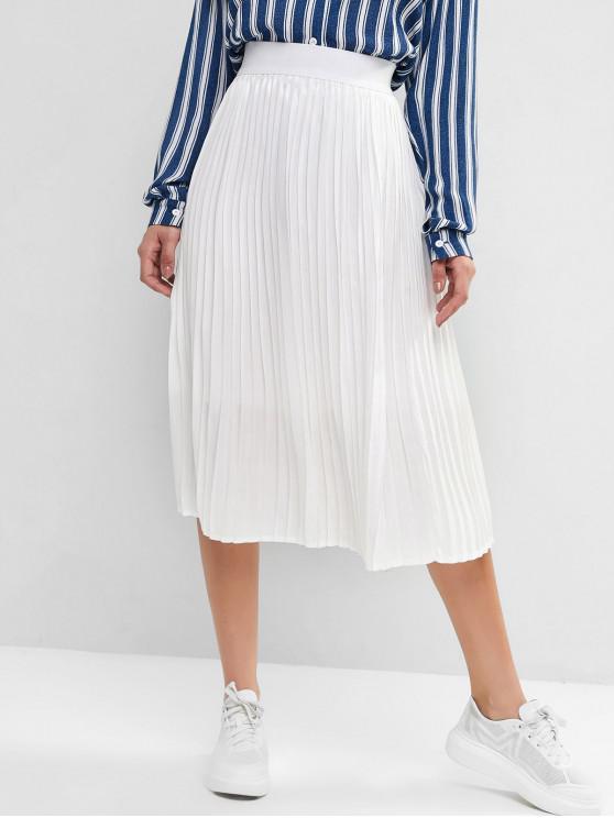 women's Pleated High Waisted A Line Skirt - WHITE XL