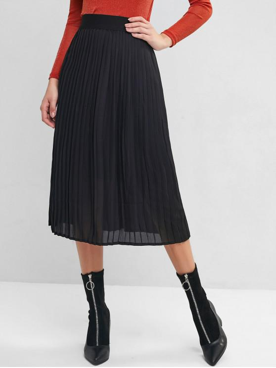 outfits Pleated High Waisted A Line Skirt - BLACK S