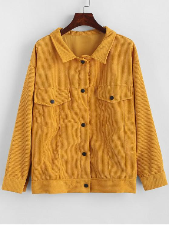 chic Flap Pockets Snap Button Corduroy Jacket - BEE YELLOW ONE SIZE