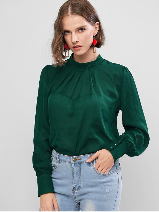 unique Keyhole Back Curved Pleated Work Blouse - SEA GREEN M