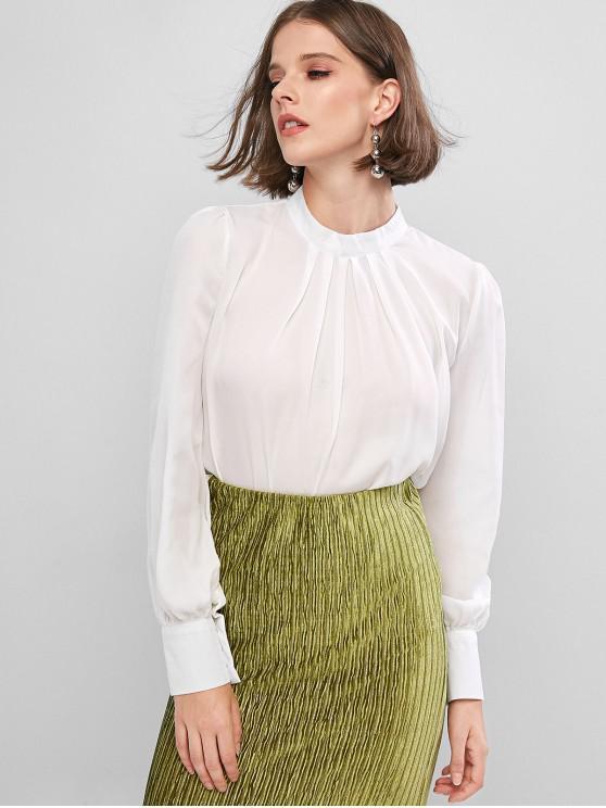 Blusa de trabajo plisada curvada con abertura posterior - Blanco S