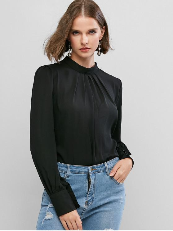 fancy Keyhole Back Curved Pleated Work Blouse - BLACK L