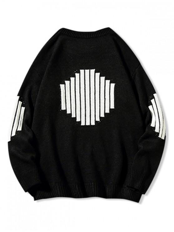 shops Contrast Stripes Geometric Graphic Crew Neck Sweater - BLACK M