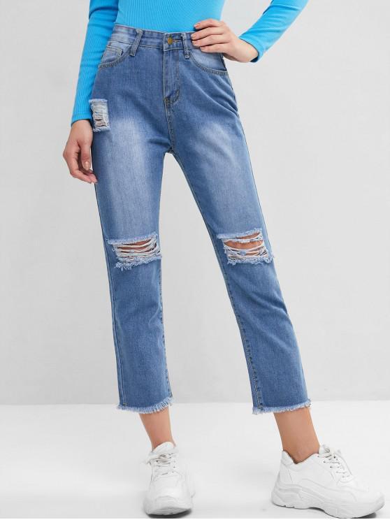 best High Waisted Frayed Hem Destroyed Skinny Jeans - DENIM BLUE M