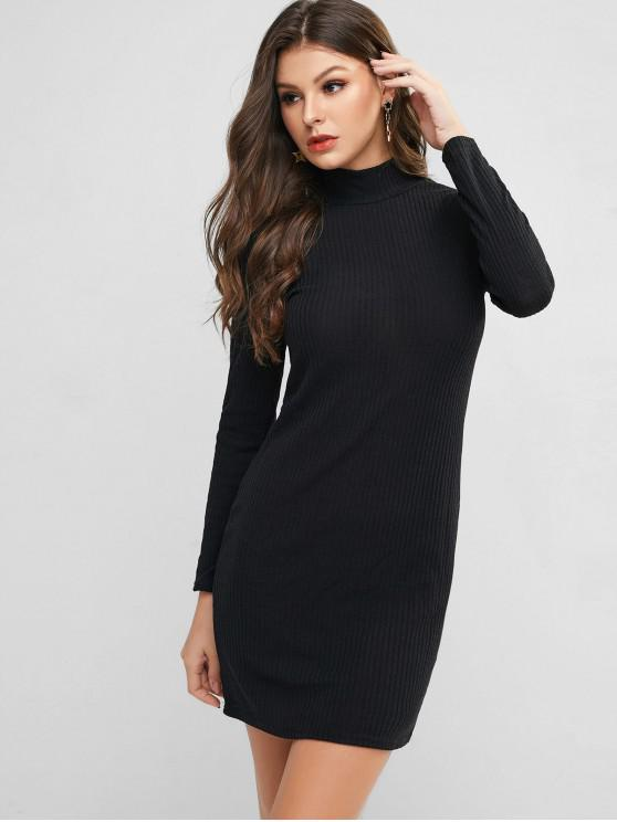 trendy High Neck Knitted Bodycon Dress - BLACK L