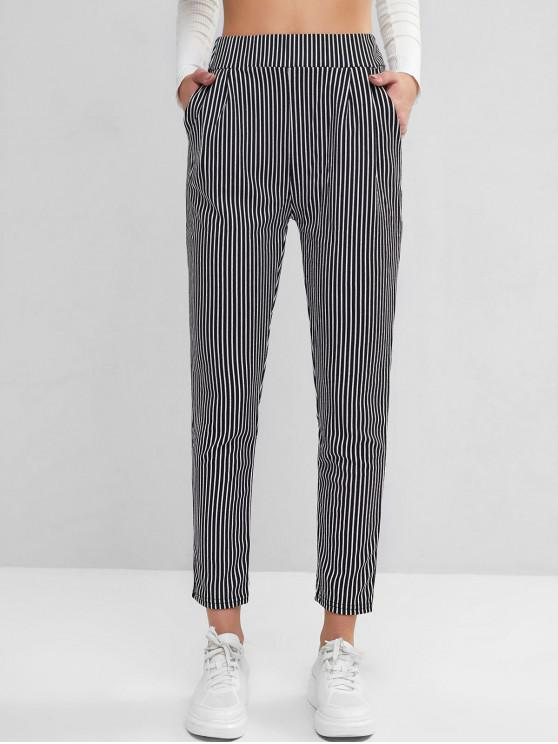 women's High Waisted Stripes Pockets Straight Pants - MULTI-A L