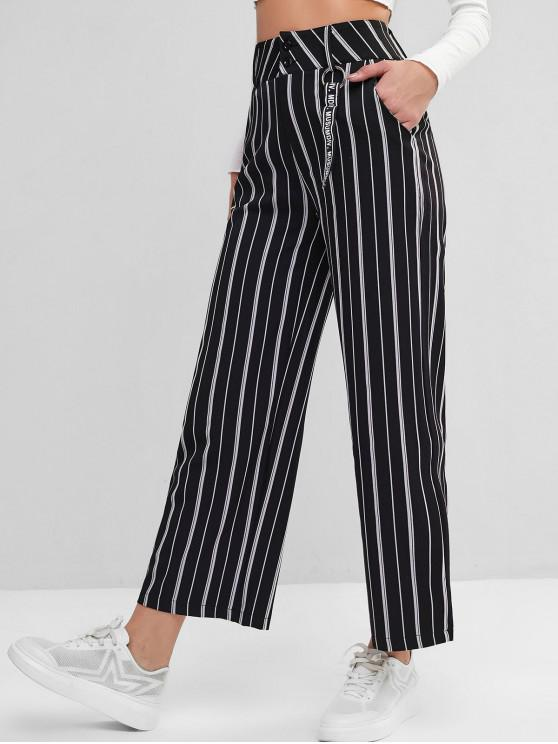 outfits O Ring Slogan Tape Stripes Wide Leg Pants - BLACK M