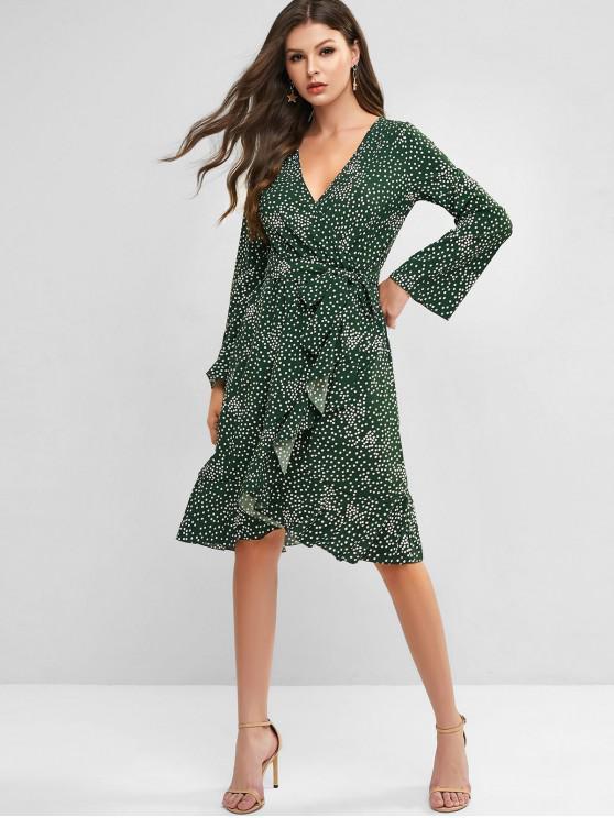 affordable Belted Polka Dot Ruffles Long Sleeve Dress - DEEP GREEN S