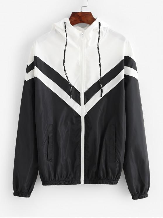 outfit Pockets Zip Up Colorblock Windbreaker Jacket - BLACK L