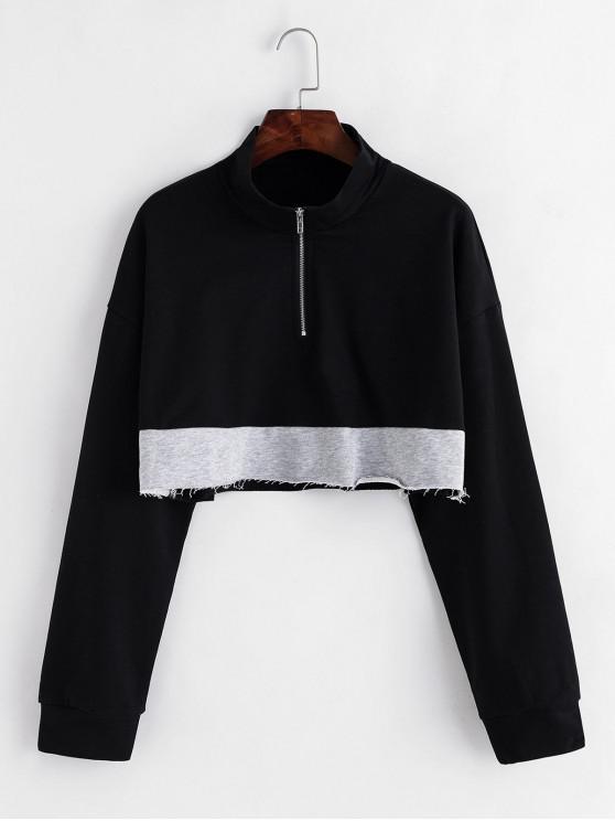 Sweat-shirt Court Bicolore à Demi-Zip à Ourlet Brut - Noir L