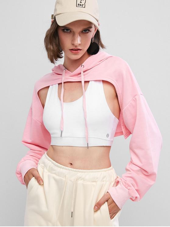 women's Open Bust High Low Drop Shoulder Hoodie - PINK M