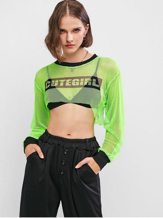 Sweat-shirt Court Haut Bas Fille Mignonne Graphique en Résille - Vert M