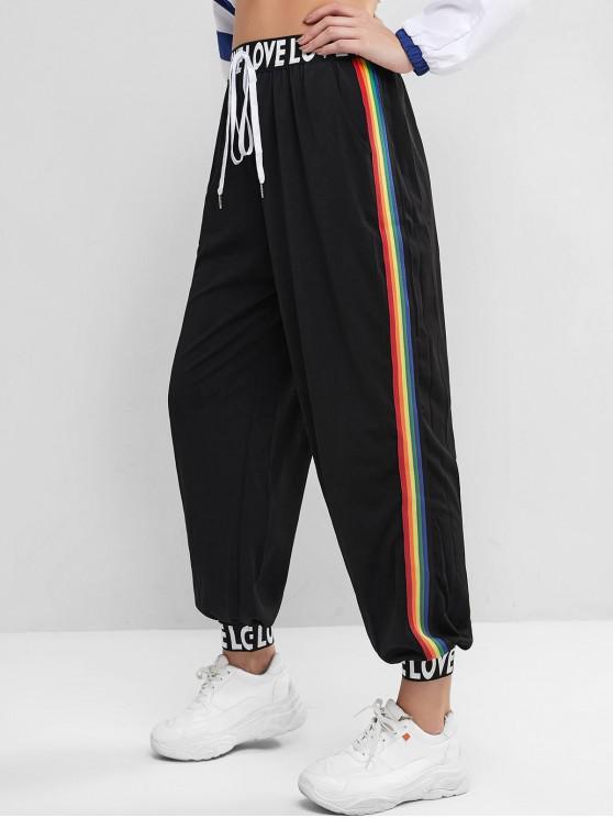 Pantalon de Jogging Lettre Graphique Rayure Arc-en-Ciel - Noir S