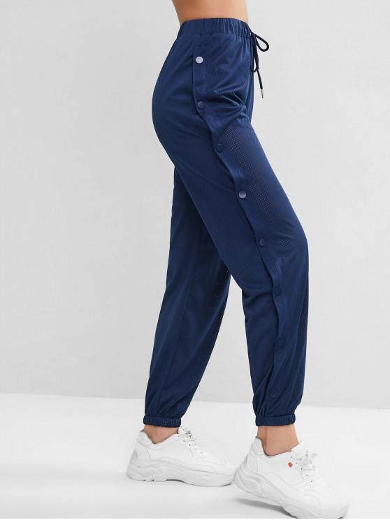Pantalon de Jogging Perforé avec Bouton-Pression à Cordon - Bleu L