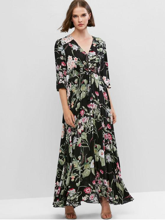 fashion ZAFUL Slit Vacation Buttons Floral Maxi Dress - MULTI S