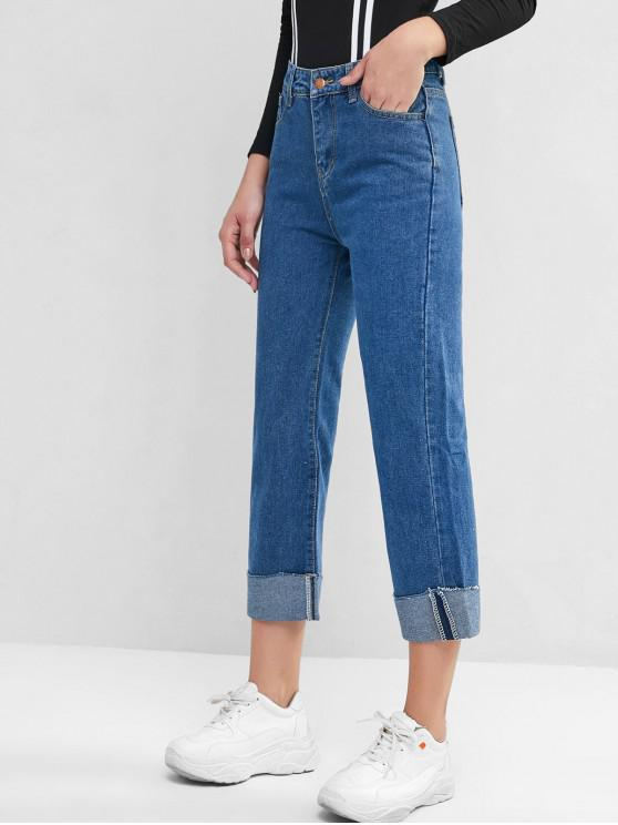outfit High Waisted Cuffed Hem Straight Jeans - BLUE L