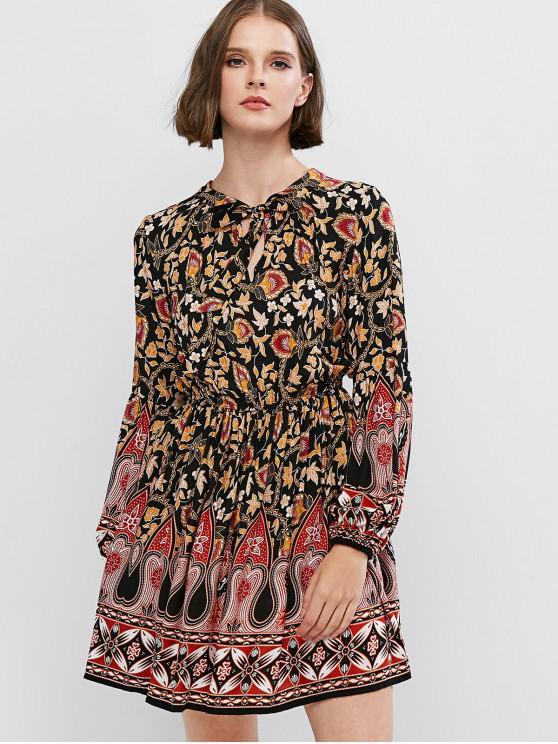 lady ZAFUL Bohemian Print Lantern Sleeve Mini A Line Dress - MULTI-A XS