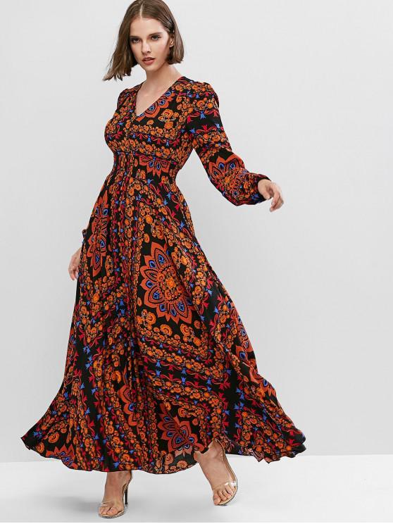 best Bohemian V Neck Lantern Sleeve Long Dress - MULTI-A S